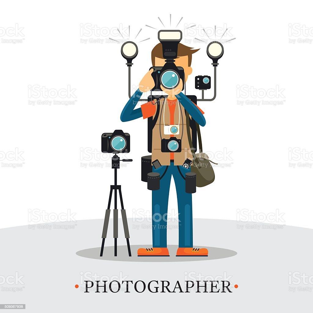 Super Equipment Photographer vector art illustration