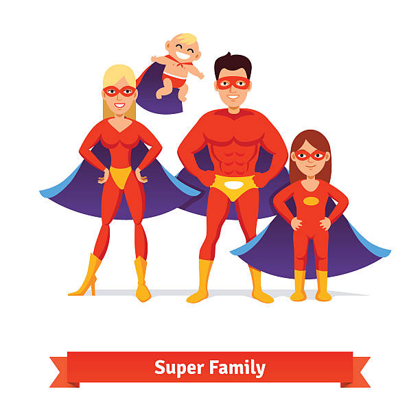 bildbanksillustrationer, clip art samt tecknat material och ikoner med super family. father, mother, daughter, baby - superwoman barn