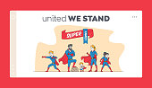 istock Super Family Landing Page Template. Mommy, Daddy and Children in Superhero Costumes Posing. Characters Super Heroes 1266868647