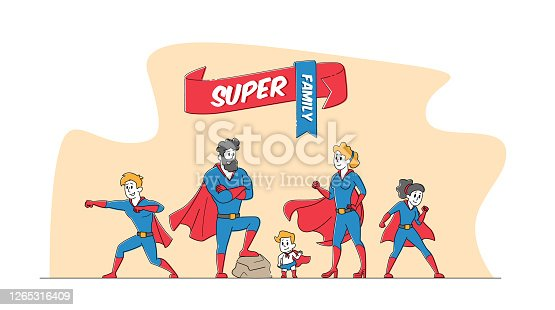 istock Super Family Mommy, Daddy and Children in Superhero Costumes. Characters Mother, Father, Son, Daughters and Little Baby 1265316409