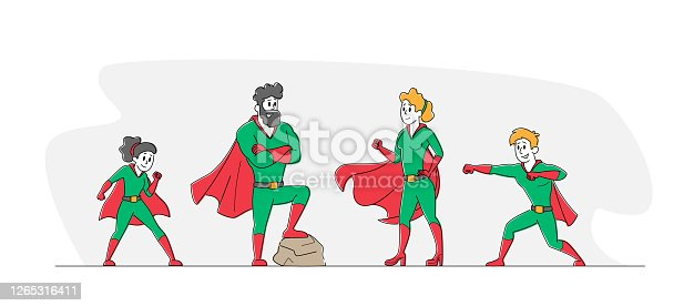 istock Super Family, Parents and Children Relations. Happy Family Dad, Mom and Kids Characters in Superhero Costume Posing 1265316411