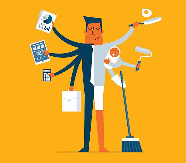 ilustrações, clipart, desenhos animados e ícones de super pai - trabalhador em casa