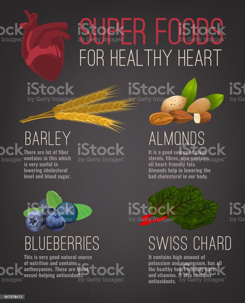 Super alimentos para la salud del corazón - ilustración de arte vectorial