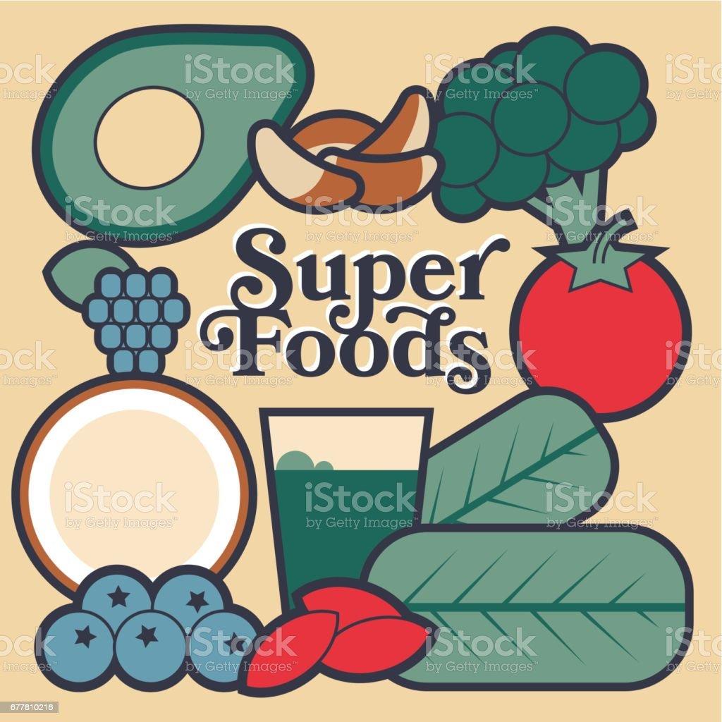 Super foods vector art illustration