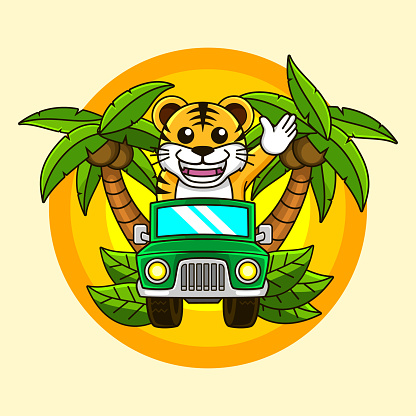 super fun Tiger cub driving car and wave hand on the jungle for a camp illustration