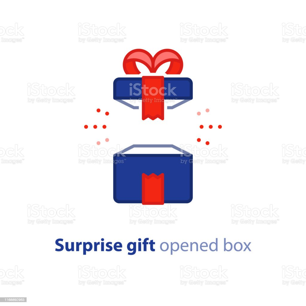 Surprise gift icon, opened blue box with red ribbon, best present,...