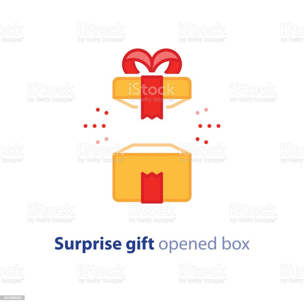 Super gift, amazing present, surprising opened box, happy birthday, promotion package vector art illustration