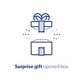 Super gift, amazing present, surprising opened box, happy birthday, promotion package