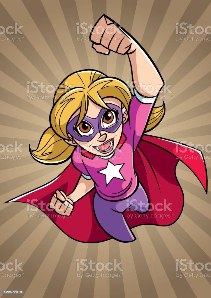 Super Girl Flying Ray Light Background Stock Vector Art More