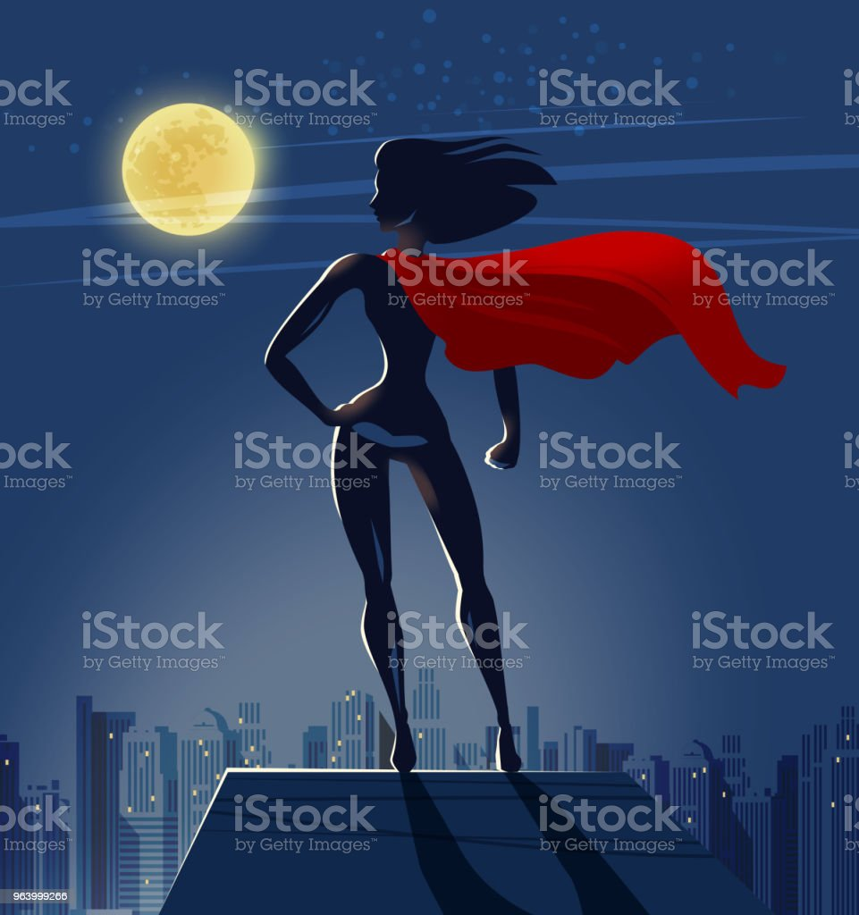 Super Girl, Superhero stands on roof of skyscraper and looks at night city. Cartoon vector illustration - Royalty-free Backgrounds stock vector