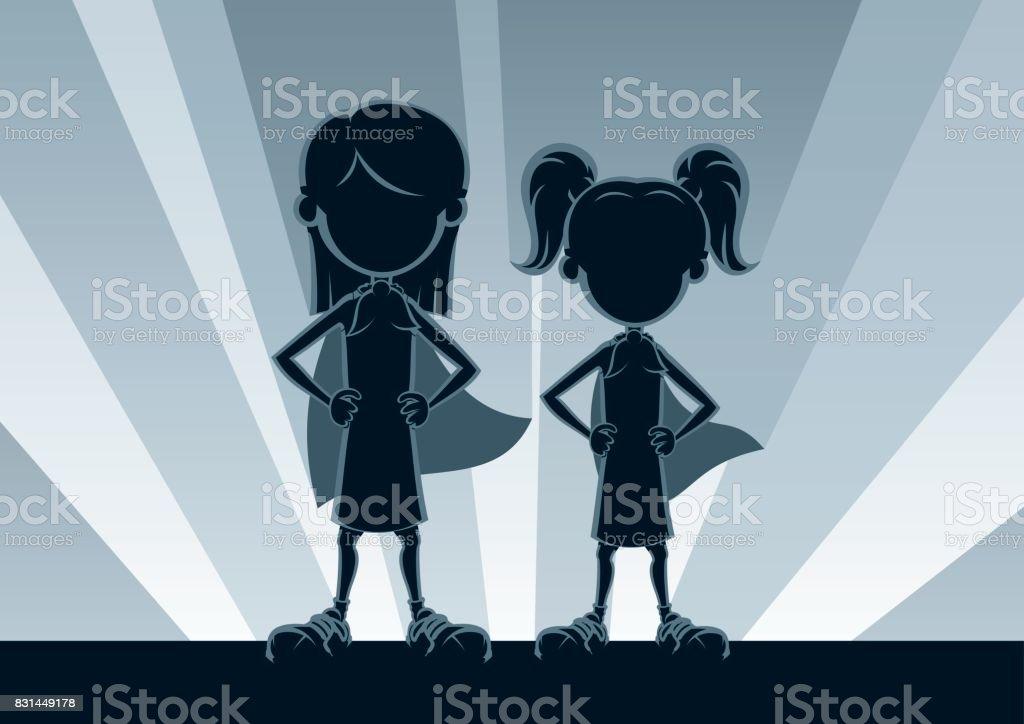 Super Girls Silhouettes vector art illustration