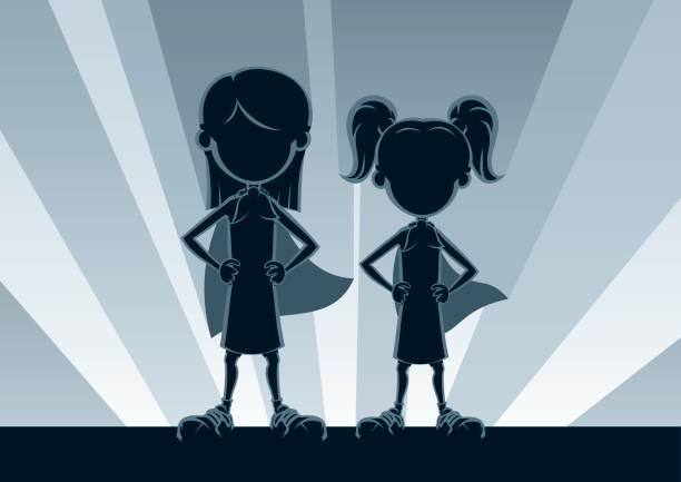 ilustrações, clipart, desenhos animados e ícones de meninas super silhuetas - irmã