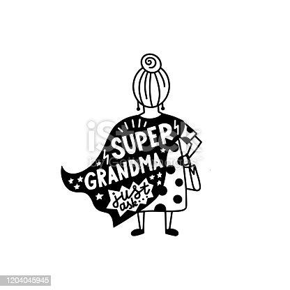 istock Super grandma graphic lettering. 1204045945