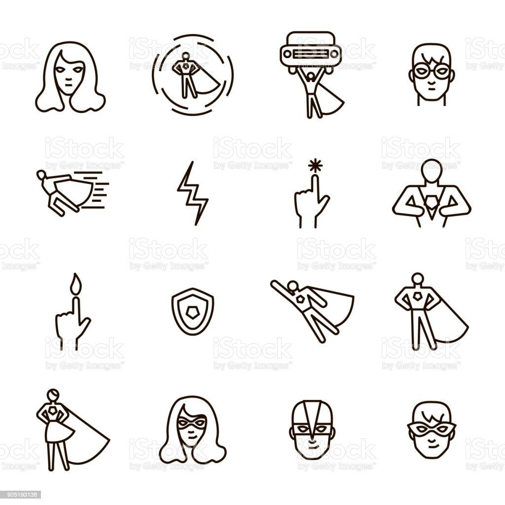 Super Hero Black Thin Line Icon Set. Vector vector art illustration