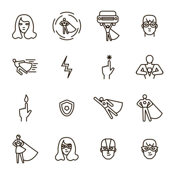 super hero black thin line icon set. vector - super hero stock illustrations