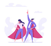 Super Hero Businessman and Business Woman Characters in Red Cape. Leadership Teamwork, Career Growth, Goal Achievement Concept. Flat Vector Cartoon Illustration