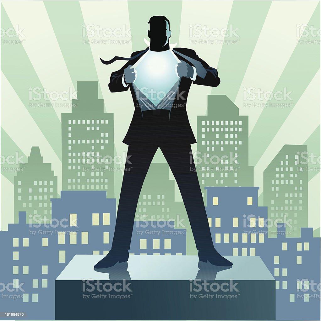 Super Hero Businessman and the City vector art illustration