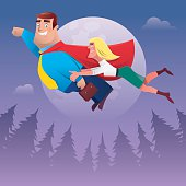 vector illustration of happy super hero businessman with lady flying …
