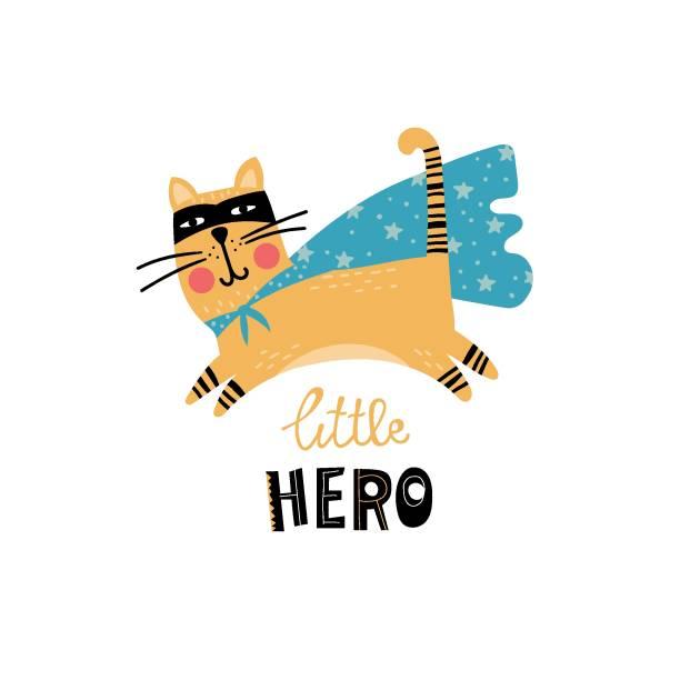 ilustrações de stock, clip art, desenhos animados e ícones de super hero cat for kids - baby super hero