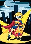 Super Hero Character on Motorbike in City