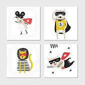 Super Hero - collection of cards with cute and fun kids super hero animals. Vector illustration