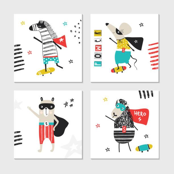 ilustrações de stock, clip art, desenhos animados e ícones de super hero - collection of cards with cute and fun kids super hero animals. vector illustration - super baby