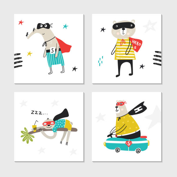 Super Hero - collection of cards with cute and fun kids super hero animals. Vector illustration Super Hero - collection of cards with cute and fun kids super hero animals. Vector illustration. baby sloth stock illustrations