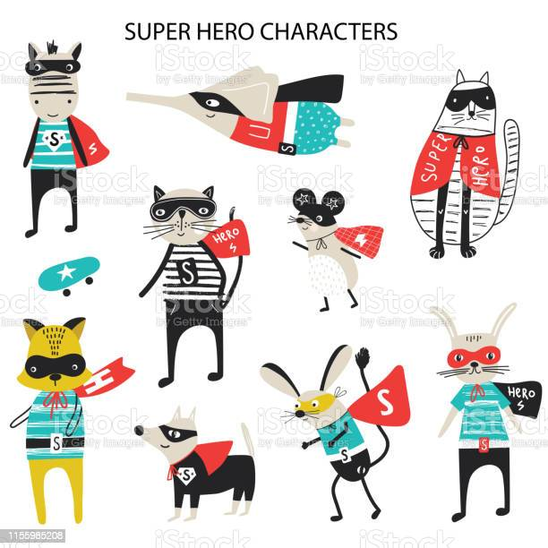 Super hero collection of cute and fun kids super hero animals big set vector id1155985208?b=1&k=6&m=1155985208&s=612x612&h= gke92qu59nostb0eaerprvyieufnjd8uuz j7bdpaq=