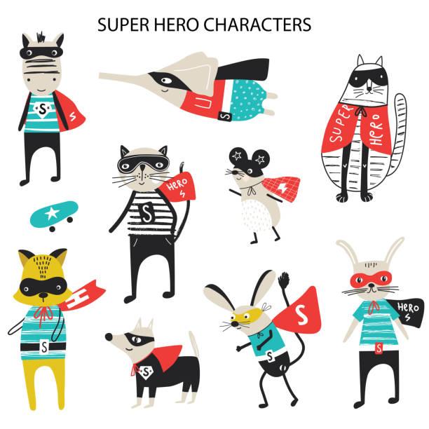 ilustrações de stock, clip art, desenhos animados e ícones de super hero - collection of cute and fun kids super hero animals. big set of characters. vector illustration - super baby
