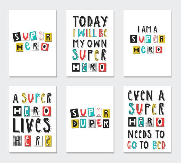 ilustrações de stock, clip art, desenhos animados e ícones de super hero - collection of nursery posters with cute and fun hand drawn lettering. vector illustration - baby super hero