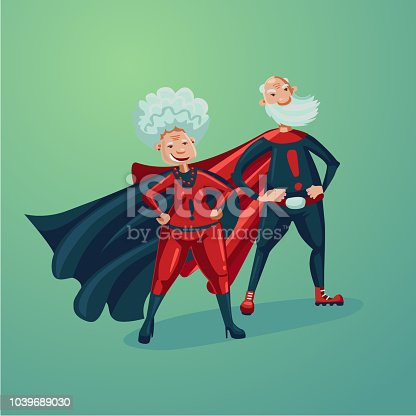 Super hero couple. Old lady and senior adult man. Comics style vector illustration.