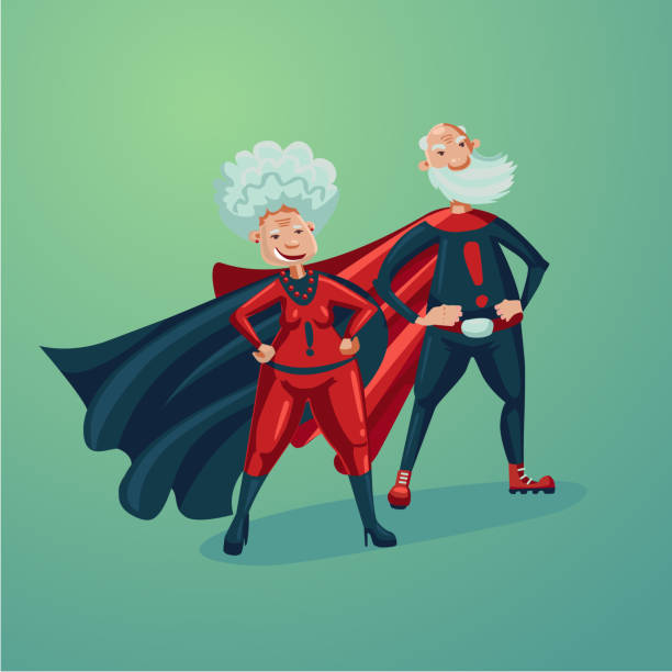 super hero couple. old lady and senior adult man. comics style vector illustration. - old man funny cartoon stock illustrations, clip art, cartoons, & icons