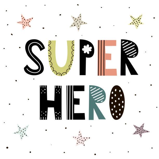ilustrações de stock, clip art, desenhos animados e ícones de super hero cute hand drawn lettering with stars for print design - super baby