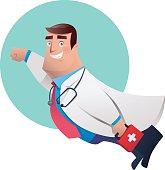 vector character of super hero doctor flying…