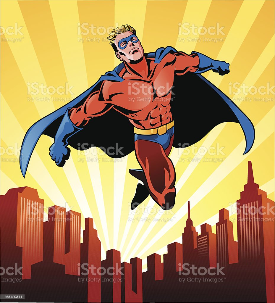 Super Hero Flying Over the City vector art illustration
