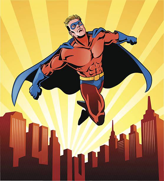 super hero flying over the city - superhero stock illustrations, clip art, cartoons, & icons
