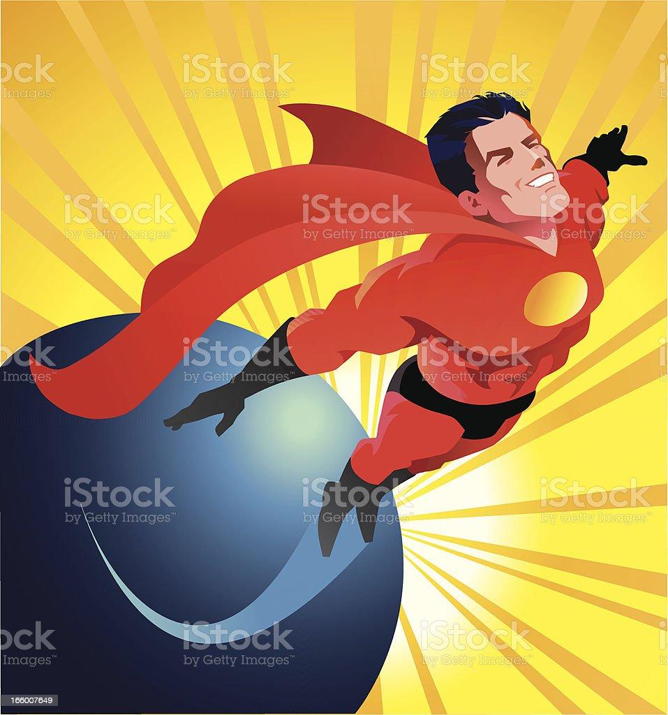 Super Hero Flying royalty-free stock vector art