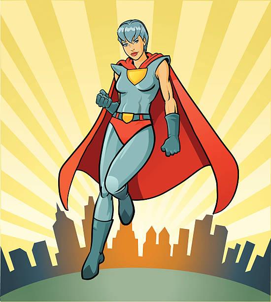 super-helden und heldinnen mit imagenary die skyline der stadt  - superwoman stock-grafiken, -clipart, -cartoons und -symbole
