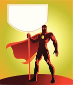 Super Hero Holding Up a Sign Board