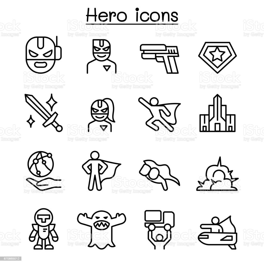 Super Hero icon set in thin line style vector art illustration