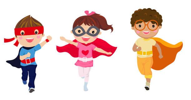 bildbanksillustrationer, clip art samt tecknat material och ikoner med super hjälte barn med kostymer, barn kostym tecken isolerad på vit bakgrund, pojke och flicka, - superhjälte isolated
