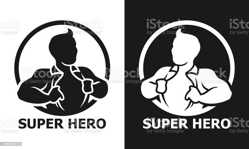Super héros homme ouvrant sa chemise rond vector icon - Illustration vectorielle