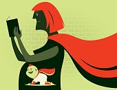 vector illustration of super hero mother and baby…