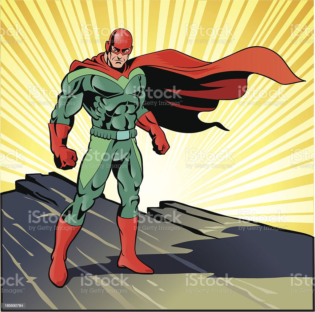 Super Hero Ready for Action vector art illustration