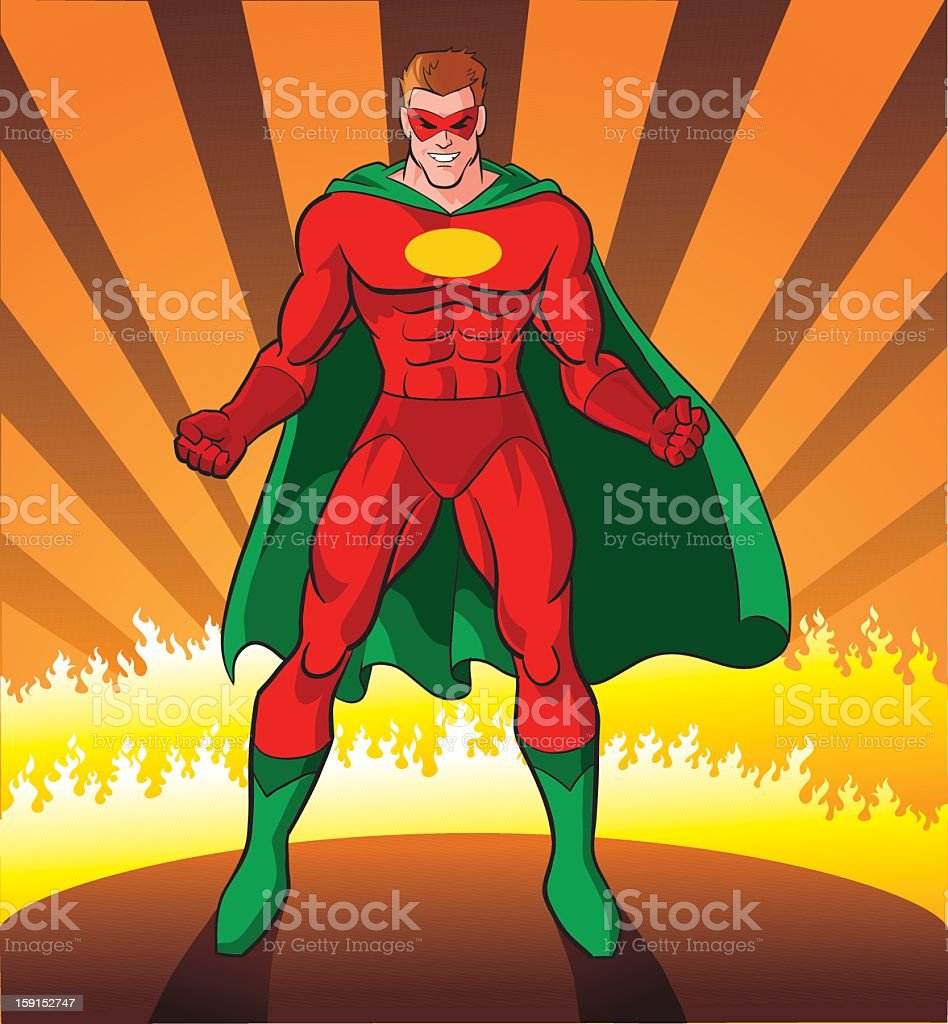 Super Hero Ready for Challenge vector art illustration