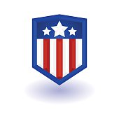 Superhero logo template. Shield with stars and stripes. Vector, isolated, eps10