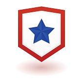 Superhero logo template. Shield with star inside. Vector, isolated eps10