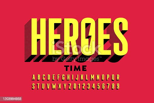 Super Hero style comics font, alphabet letters and numbers, vector illustration