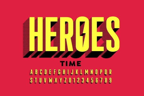 illustrations, cliparts, dessins animés et icônes de super hero style comics police - polices de bande dessinée