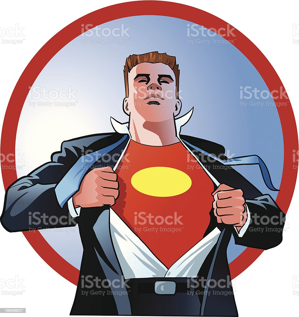 Super Hero Tearing off his Clothes vector art illustration